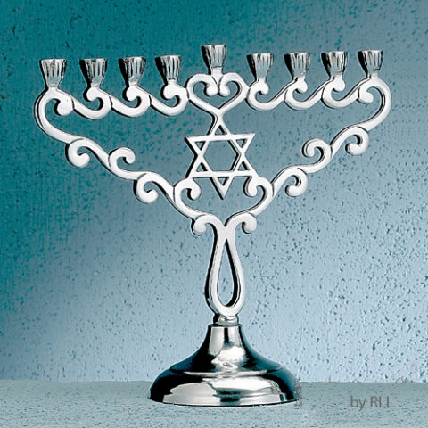 Star Polished Aluminum Menorah MG-10326