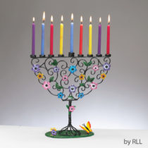 Flowering Tree Hand-Crafted Metal Menorah MFC-9