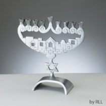 Jerusalem Walls Aluminum Menorah MG-7953