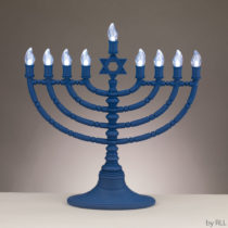 Battery Operated Blue LED Electronic Menorah JRN-400