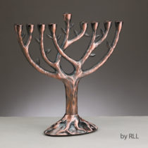 Textured Tree of Life Menorah - Antiqued Copper  MP-LIFE-CO