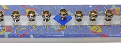 "Menorah Glass Bridge Design - Blue Dreidel - 14""W X 3""D X 1""H - LAM3072374"