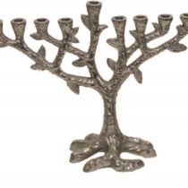 "Metal Aluminium Menorah Tree Design with Nickel Plated Finish - 7""H #MN11758"