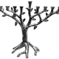 "Metal Aluminium Menorah Tree Design with Nickel Plated Finish - 10""H #MN11759"