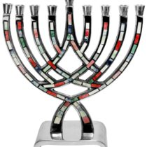 "Menorah Pewter Multi Color - 8.5""H - #MN540"