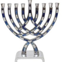"Menorah Pewter Blue - 8.5""H - #MN550"