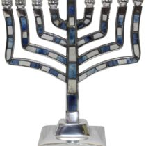 "Menorah Pewter Blue - 9""H - #MN565"