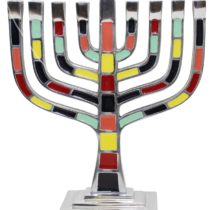 "Menorah Pewter Multi Color - 9.5""H - #MN600"