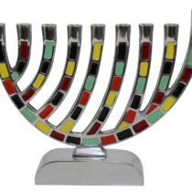 "Menorah Pewter Multi Color - 7.5""H - #MN610"