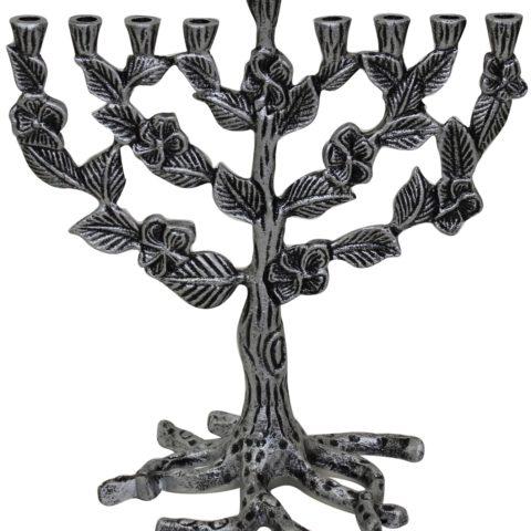 "Candle Menorah - Silver - 10""H - #MN745"