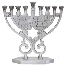 "Candle Menorah - Pewter - 8.25""H - MN760"