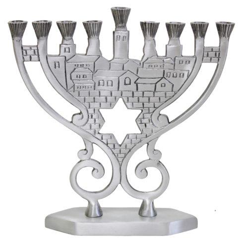 """Candle Menorah - Pewter - 8.25""""H - MN760"""