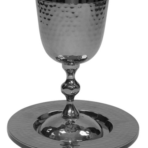 "Kiddush Cup Hammered Nickel W/Saucer 5""H - #KC1100V"