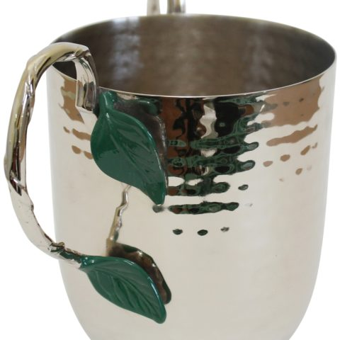 Holister Wash Cup Hammered Stainless Steel With Silver Handles & Green Leaf