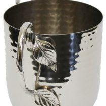 "Holister Wash Cup Hammered Stainless Steel With Silver Handles - WCHS- 5"" X 4.5"""